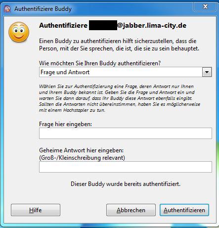 Authentification OTR Pidgin - Vorab muß man sich auf eine FRage und eine passende Antwort verständigen, man kann natürlich auch manuell über einen Sicheren Weg die beiden Schlüssel authentifizeren.