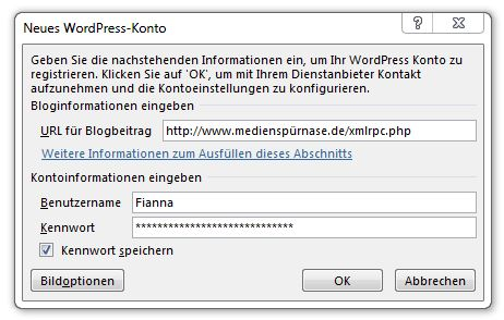 Word 2013 - Blog registrieren