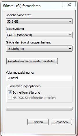 Formatierung Fat 32