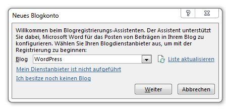 Blogsystem waehlen