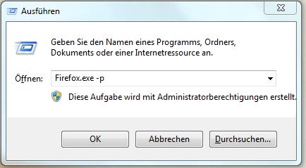Firefox Profilmanager aufrufen