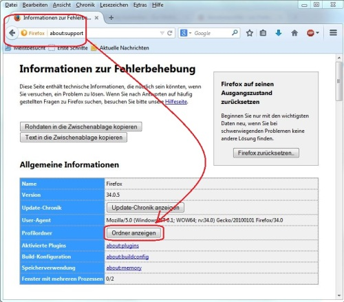 Profilordner Firefox anzeigen lassen