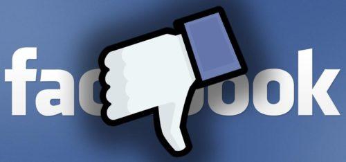 Daumen nach unten für Facebook